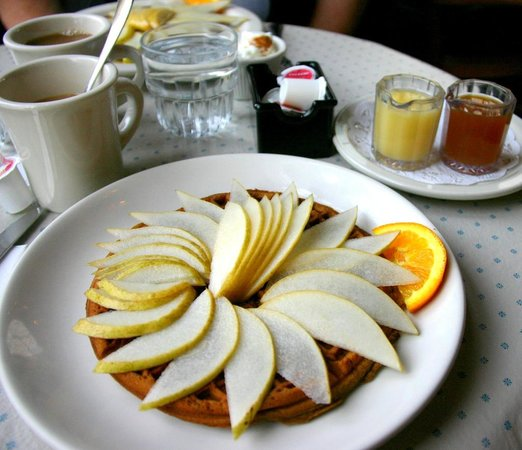 Lazy Susan Cafe:                                     Gingerbread waffle with fresh pears and hot syrups