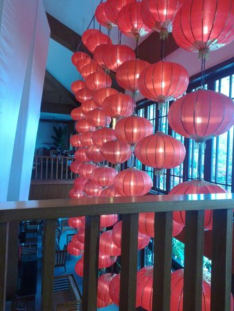 Guesthouse International Hotel:                   Lanterns hanging in the lobby for Chinese New Year. View from breakfast floor.