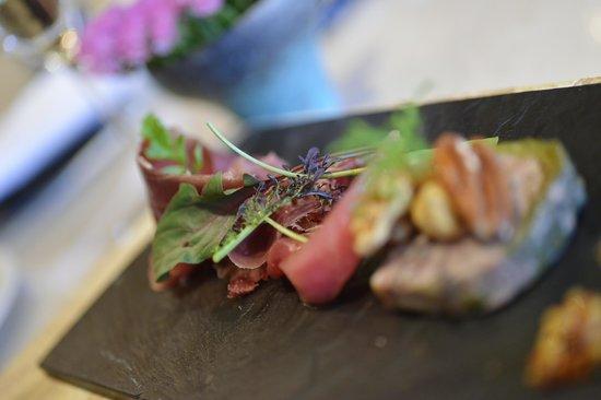 la MATIERE :                                     Cured Wild Boar Ham, Pate', Winter Greens
