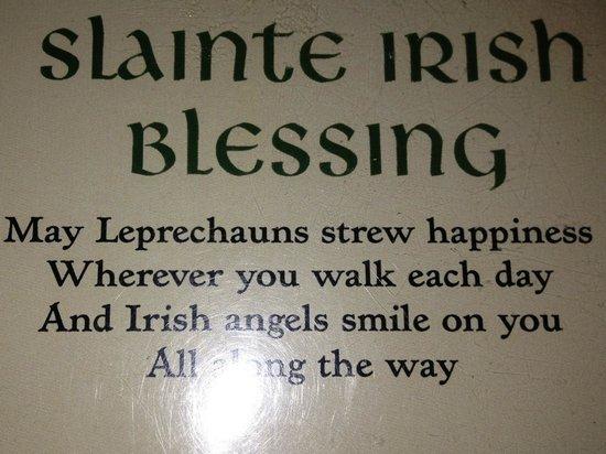 Murphy's Grand Irish Pub:                   Irish blessing from the menu