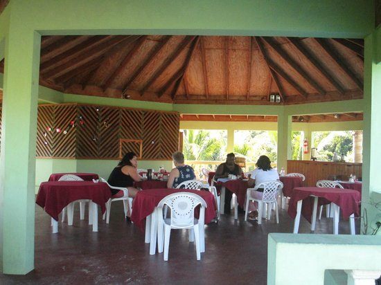 Hidden Paradise Resort Hotel:                   H.P. breakfast area above the pool & overlooking palm preserve