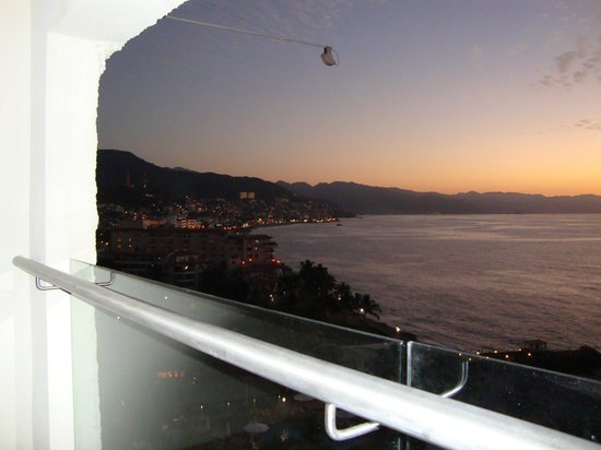 Sheraton Buganvilias Resort & Convention Center:                                     Twilight View of Puerta Vallarta from Balcony