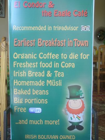 El Condor & The Eagle Cafe:                   Road sign