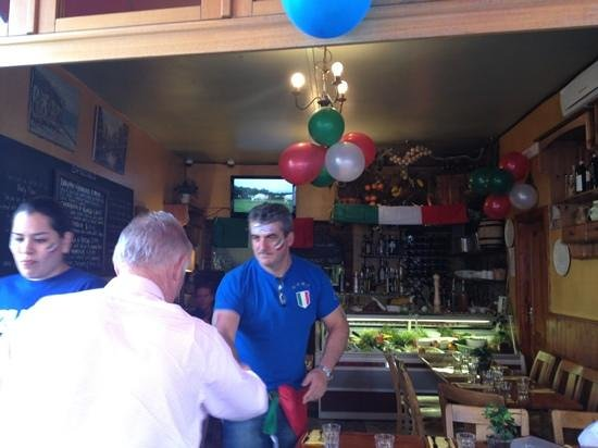 Pappa Ciccia - Munster Road:                                     Tino the owner welcoming his customers :-)