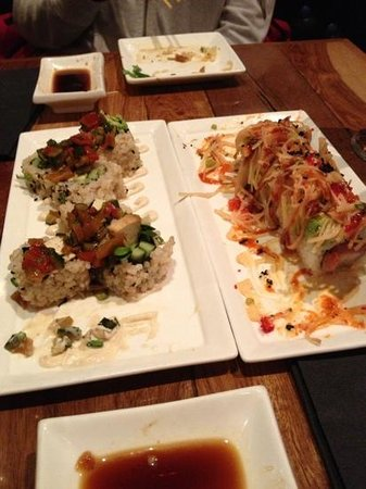 tofu on the left and mamasake special on the right (spicy)