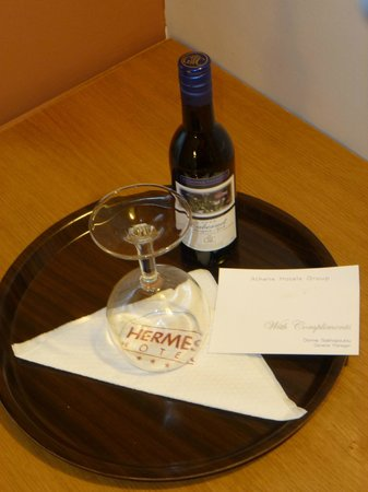 Hermes Hotel:                   Complimentary bottle of wine waiting in my room