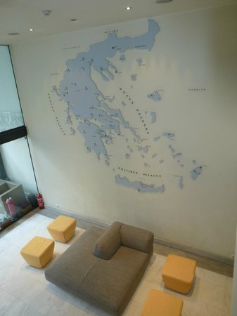 Hermes Hotel:                   Map of Greece in the hotel foyer