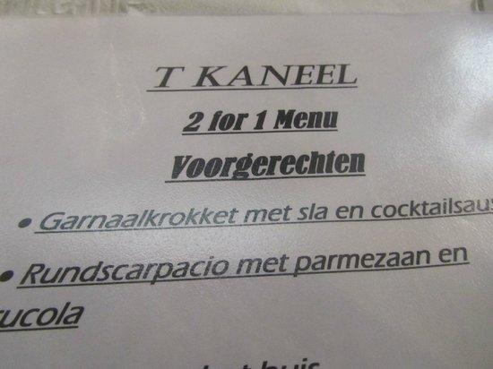 't Kaneel : Stukje van menu (met fout)