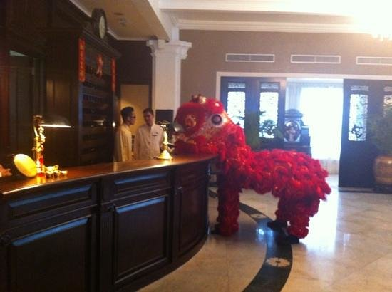 Eastern & Oriental Hotel:                   Sunday morning in the lobby, Chinese New Year!