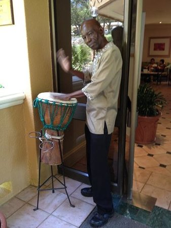 Cabanas, Sun City:                   Friendly staff beating the drum!