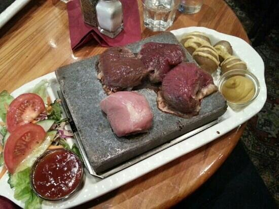 The Brewers Arms :                   stone grill wild combo: pork, venison, kangaroo, ostrich