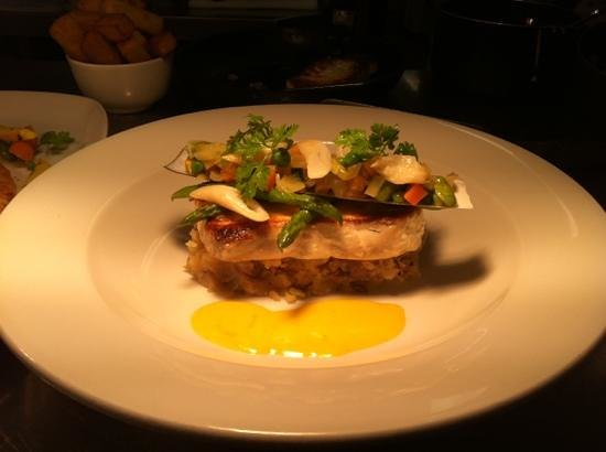 Number 9:                   pan fried fillet of halibut sat on crushed new potatoes