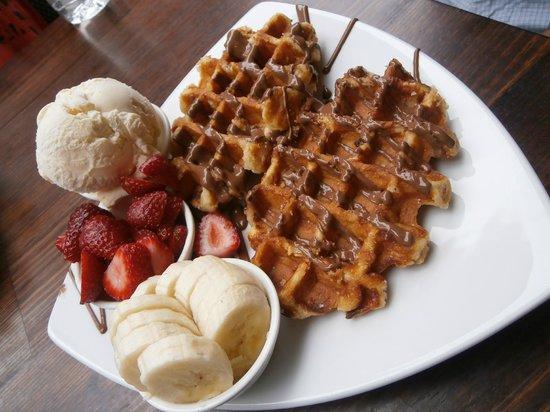 Max Brenner Chocolate Bar :                   waffles