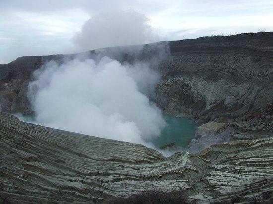 Banyuwangi, Indonesia:                   Sulphur smoke above the acidy lake 1