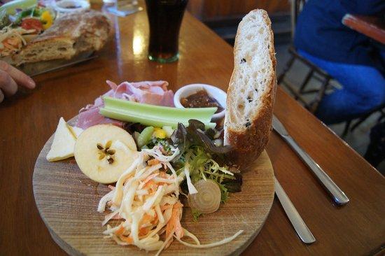 مايسونز آرمز:                   The ham ploughmans - complete with fabulous olive bread                 