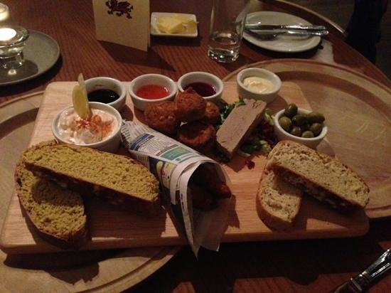 Bistro Betws-y-Coed:                   brilliant sharing platter. spicy battered cod, lava bread and dips, stuffed mu