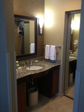 Homewood Suites Fort Smith:                   sink outside with tub/shower behind it