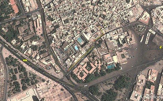 Plattegrond Google Maps met ongeveer de locatie van Riad BB Marrakech