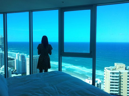Hilton Surfers Paradise Hotel & Residences:                   Floor to (almost) ceiling, wall to wall bedroom window -