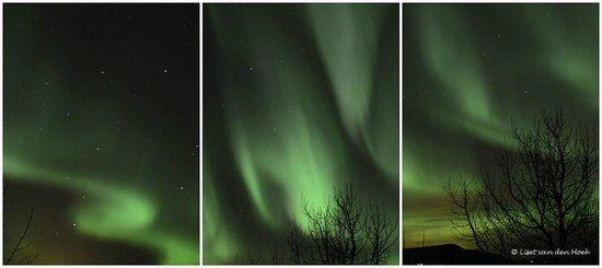 Fosshotel Hekla:                   Noorderlicht vanaf het balkon van het hotel
