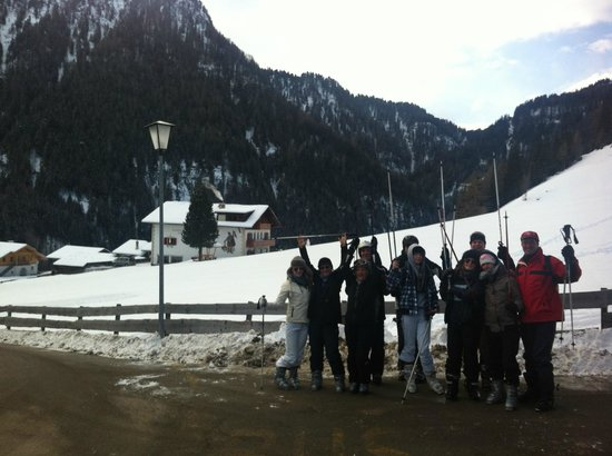 Garni Kostner:                   waiting for the bus and the house behind us