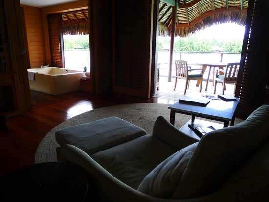 Four Seasons Resort Bora Bora:                   Living room to Bath room