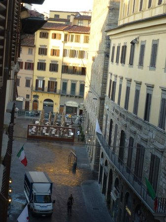 Family Apartments:                   early morning view of Piazza della Signoria from exec. 2-bdrm apt.