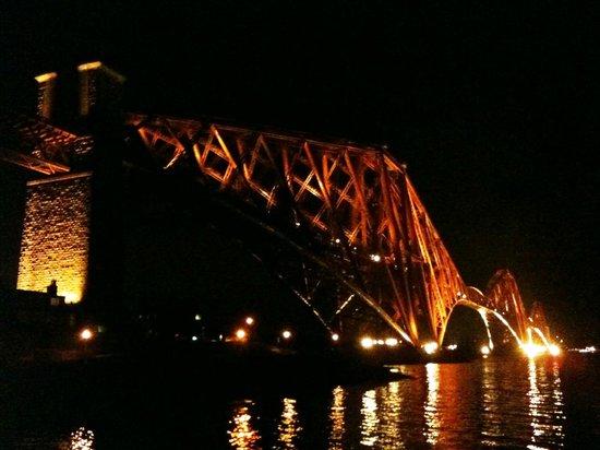 Albert Hotel:                   ライトアップされた鉄橋は恐竜の骨標本のよう