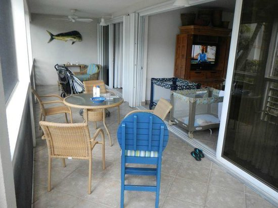 Ocean Club West:                                     screened porch (huge) opened on to living room and master