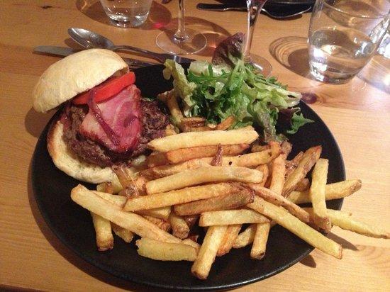 La Ferme des Trois Capucines :                   home made burger with fries and salad