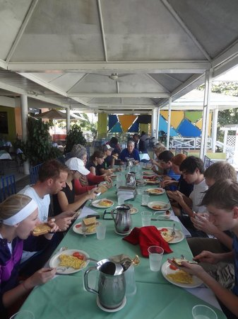Visa Lodge Restaurant :                                     The staff happily accommodated us at one long table for 17!