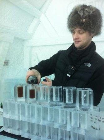 Hotel de Glace:                   our daytime bartender
