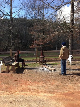 Chattahoochee Stables :                                     There is a was a little woodstove and fire for us to sit aro