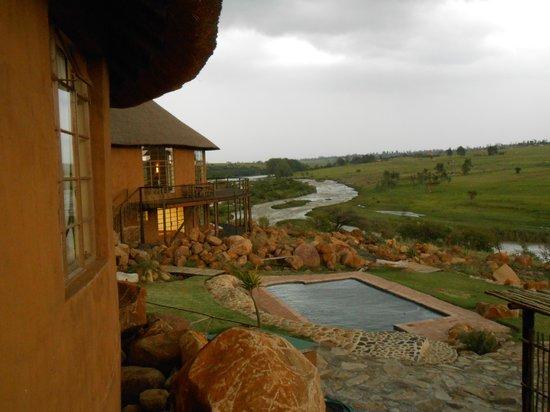 Rorke's Drift Hotel:                   View from King Shaka overlooking pool & Buffalo river