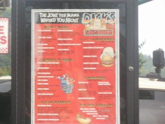 Dick's Last Resort:                   the outdoor displayed menu