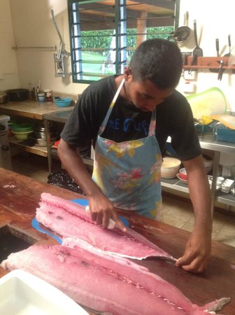 Nakia Resort & Dive:                                     Preparing Dogtooth Tuna for dinner
