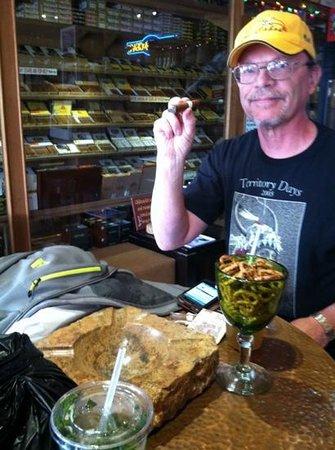 J&J La Casa del Habano :                   Enjoying a Mojito and one of many Cuban cigars to pick from!  great place!