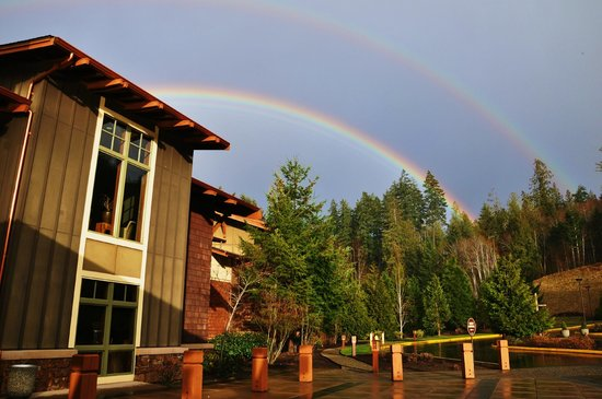 Alderbrook Resort & Spa:                                     Double rainbow over the lodge entrance