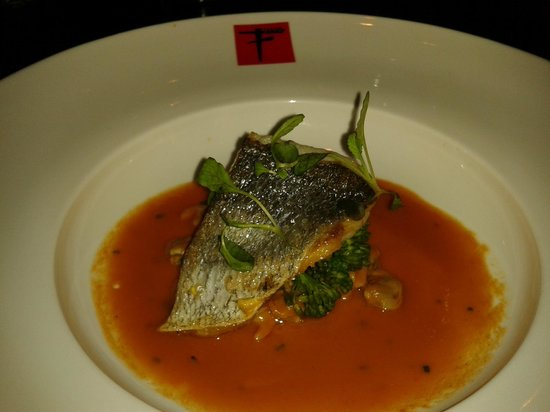 Fusion Room:                   bass in lobster bisque with cockles