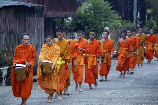 Victoria Xiengthong Palace: Monks in morning alms walk