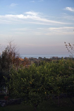 Agriturismo dell'Etna:                   view of the Ionian sea from the second-floor balcony