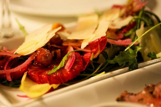 Ottolenghi - Islington:                   Blood Orange with spicy macadamia, pickled red onion, pecorino, mixed leaves a