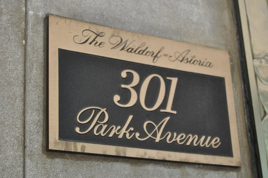 The Towers of the Waldorf Astoria:                   door plaque