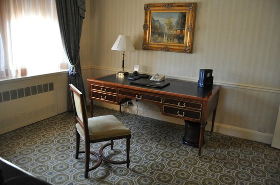 The Towers of the Waldorf Astoria:                   Writing desk in lounge.