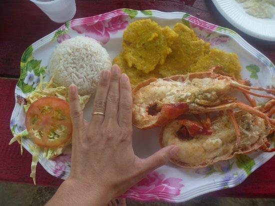 Bocas Town, Panama:                   Langosta a la mantequilla con patacones, ensalada coleslaw y arroz al coco