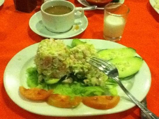 Los Arcos Restaurant:                                     Stuffed avocado appetizer with crab & shrimp