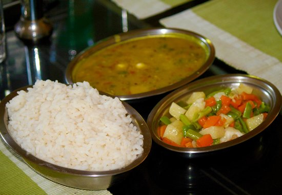 Casamaria Beach Resort:                   Dal, Buttered Vegetables, and Kerala Rice