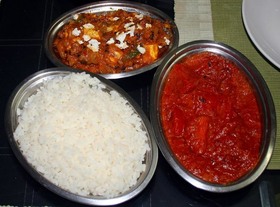 Casamaria Beach Resort:                   Paneer Butter Masala, Tomato Masala, and Kerala Rice