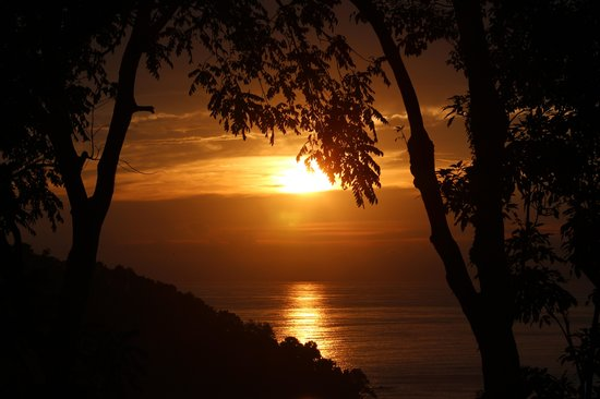 Tulemar Resort:                   Sunset View from Bungalow