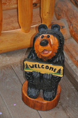 Banff Log Cabin B&B:                   Welcome sign